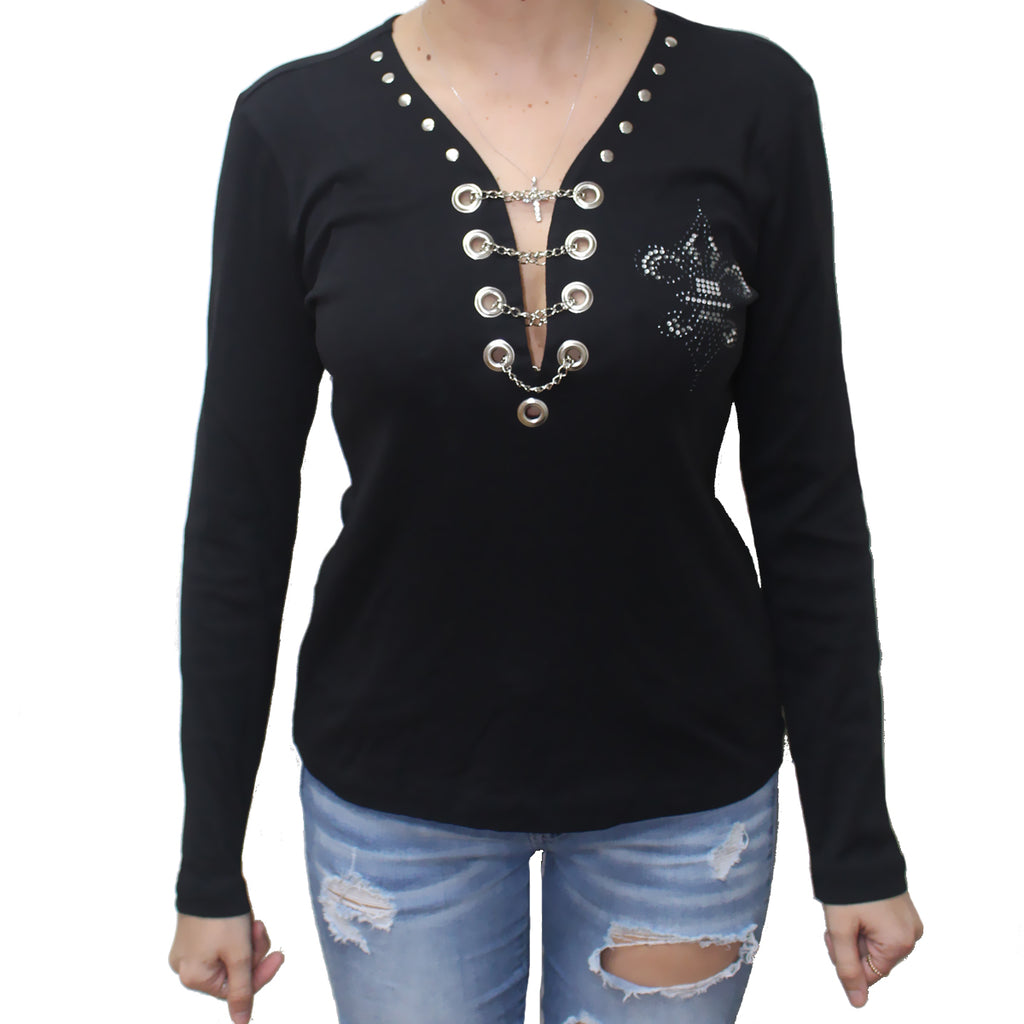 Ladies Rhinestone Live Love Ride Fleur De Lis Wings Chain Front Long Sleeve Shirt