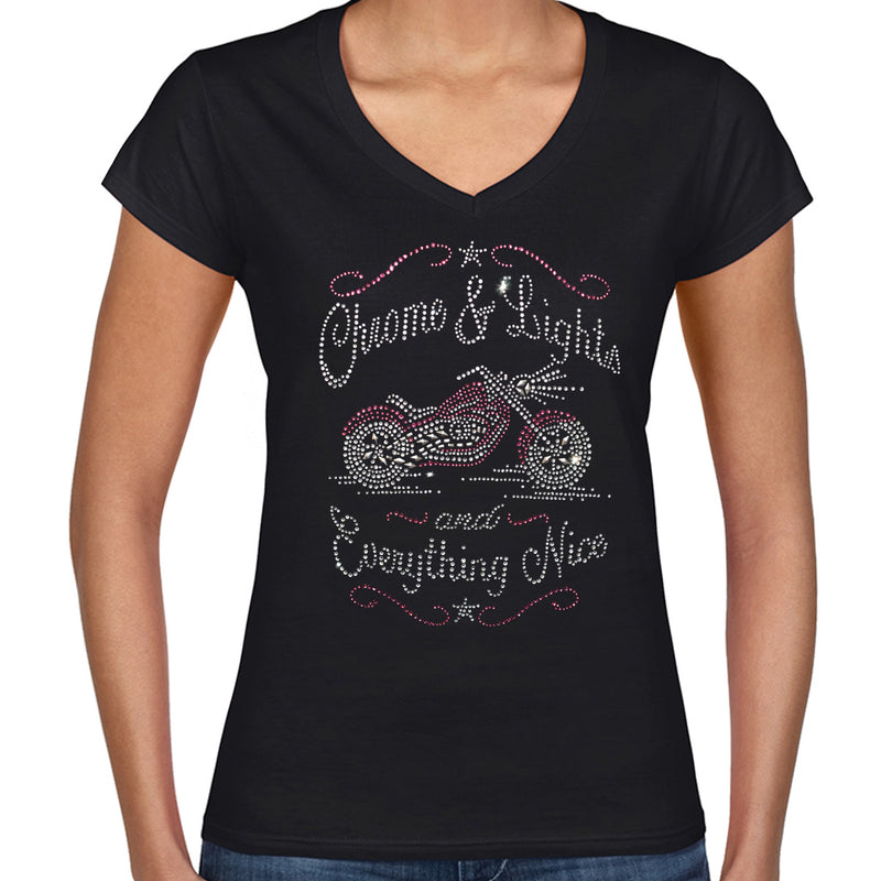 Ladies Rhinestone Chrome, Lights, and Everything Nice V-Neck T-shirt