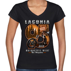 Ladies 2018 Laconia Motorcycle Week Weirs Biker V-Neck T-Shirt