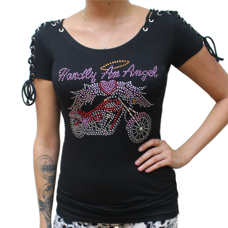Ladies Rhinestone Hardly An Angel Corset Sleeve Shirt