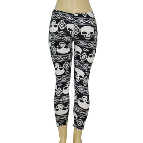 Ladies Tribal Skull Biker Leggings