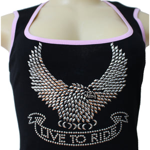 Live To Ride Stud Embellished Wide Strap Scoop Neck Tank Top