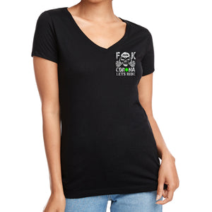 Ladies F**K Corona V-Neck T-Shirt