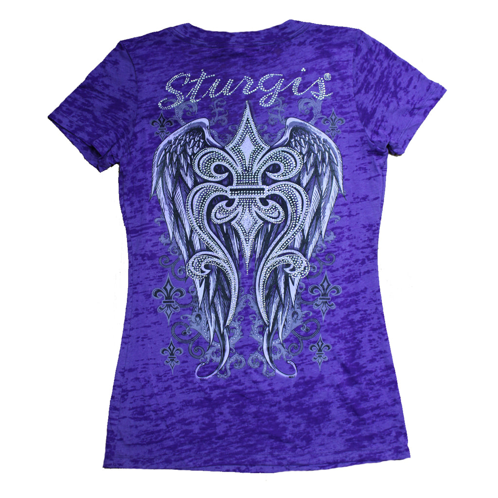 Ladies 2020 Sturgis Motorcycle Rally Rhinestone Fleur de Lis Burnout V-Neck T-shirt