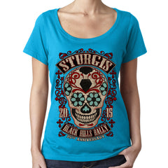 Ladies 2015 Sturgis Sugar Skull Sheer Scoop Neck Tee - CLEARANCE
