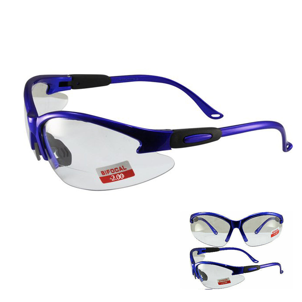 Global Vision Cougar Metallic Blue Bifocal Motorcycle Safety Glasses