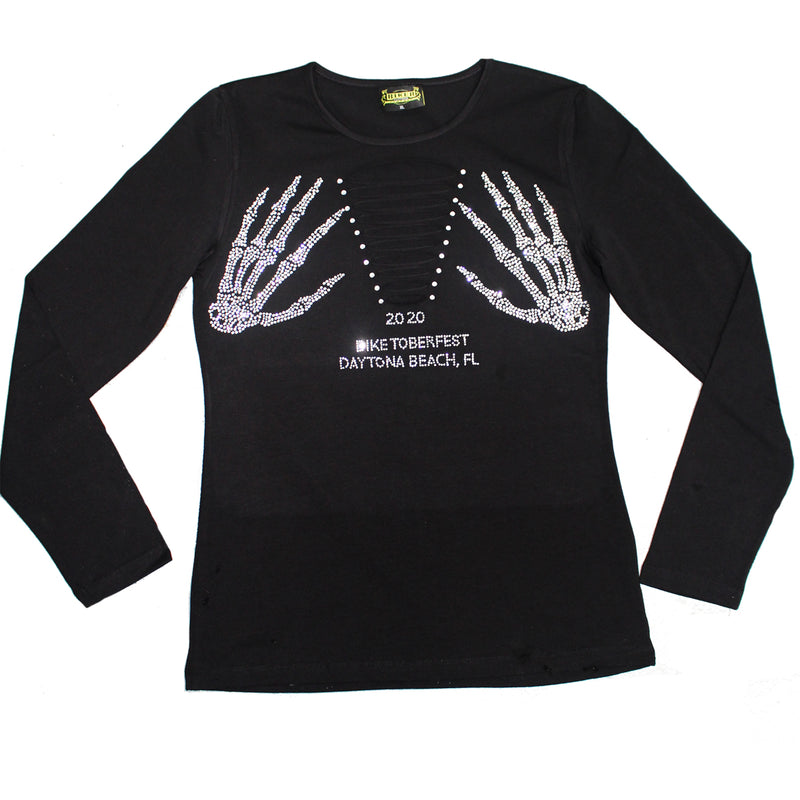 Ladies 2020 Biketoberfest Daytona Beach Rhinestone Skeleton Slit Chest Long Sleeve