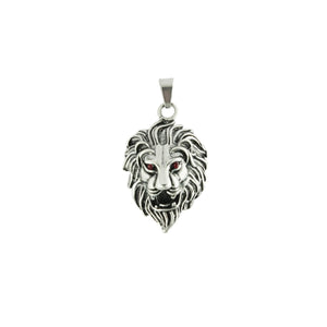 Stainless Steel Lion Head Red CZ Eyes Pendant