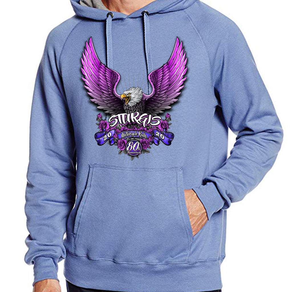 Ladies 2020 Sturgis Motorcycle Rally Pink Eagle Pullover Hoodie