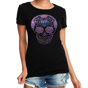 Ladies Sugar Skull Rhinestone Crew Neck T-Shirt