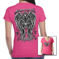 Ladies 2015 Sturgis Fleur de Lis Wings V-Neck Tee