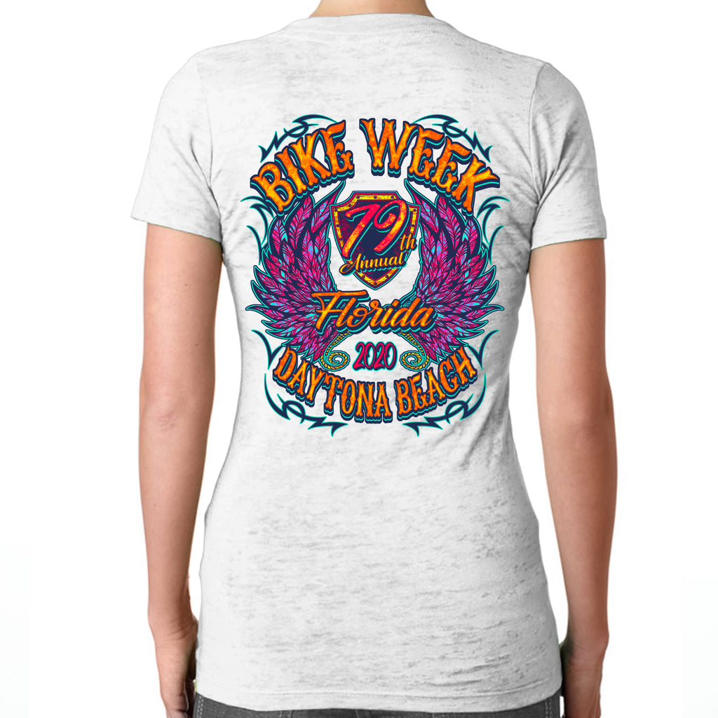 Ladies 2020 Bike Week Daytona Beach Neon Chick Burnout V-Neck T-Shirt
