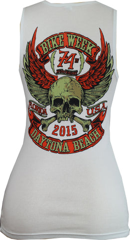Ladies 2015 Bike Week Daytona Beach Orange Skull Tank Top