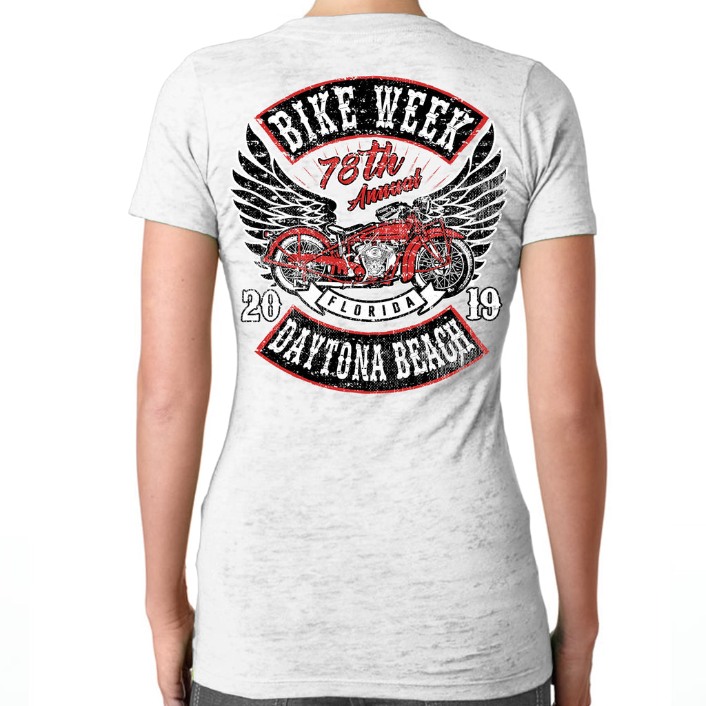 Ladies 2019 Bike Week Daytona Beach Rocker Billy Burnout V-Neck T-Shirt