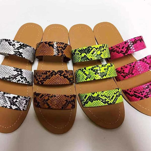 Thishoes Stylish Slip-On Flip Flop Serpentine Summer Slippers