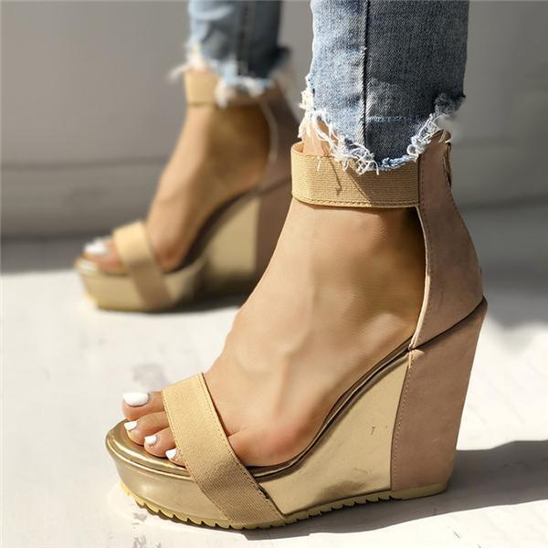 Thishoes Sexy Open Toe Back Zipper Wedges Sandals