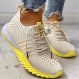 Thishoes Women Colorblock Knitted Breathable Lace-Up Sneakers
