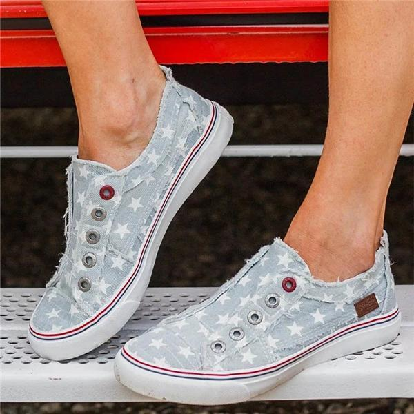 Thishoes Women Ice Denim Star Summer Sneakers