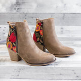 Thishoes Vintage Embroidered Chunky Heel Booties