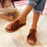 Thishoes Women Casual Summer Stylish Slip-On Flat Sandals