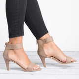 Thishoes Ankle Strap Mid Thin Heel Sandals