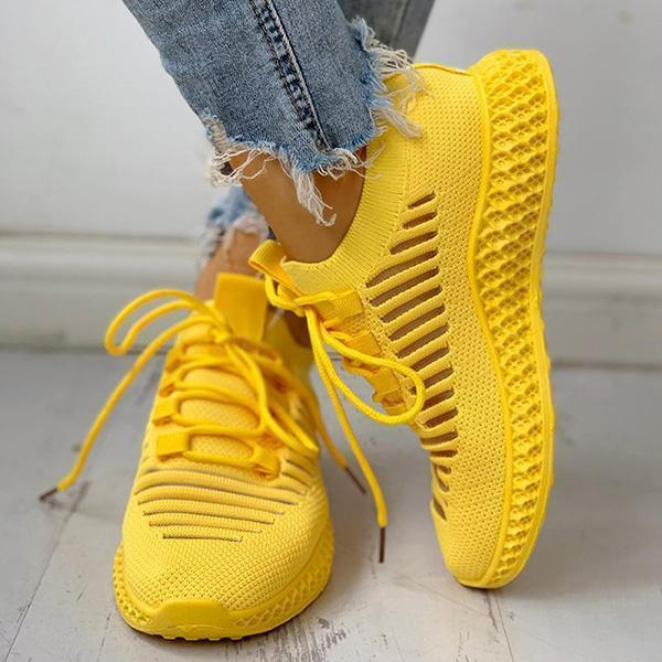Thishoes Net Surface Breathable Lace-Up Hollow Out Sneakers