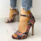 Thishoes Ethnic Print Peep Toe Ankle Strap Thin Heeled Sandals