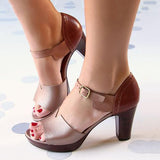 Thishoes Chunky Heel Ankle Strap Elegant Shoes Working Daily Shoes