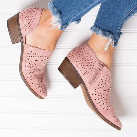 Thishoes Hollow Low Heel Cutout Booties