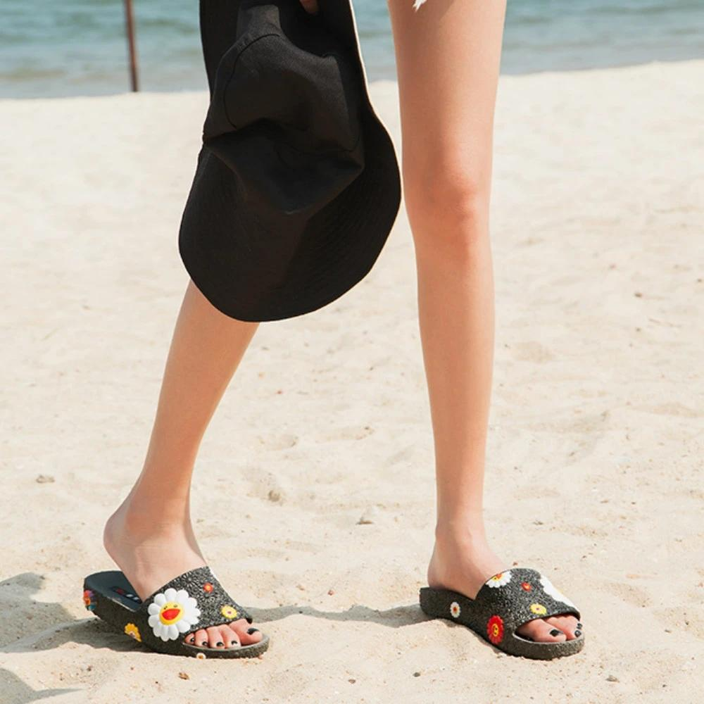 Thishoes Colorful Smile Sunflower Emblished Beach Slippers