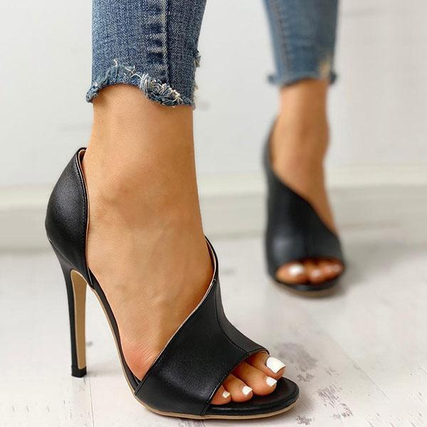 Thishoes Cutout Peep Toe Thin Heeled Heels