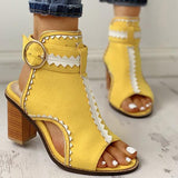 Thishoes Fashion Peep Toe Slingback Chunky Sandals