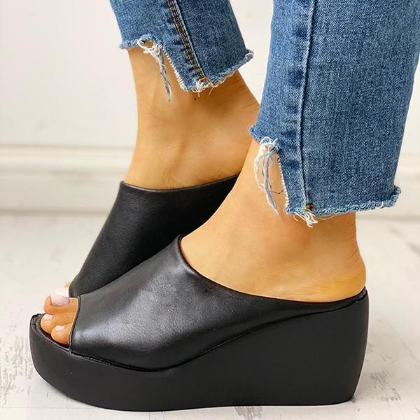 Thishoes Peep Toe Muffin Wedge Slippers