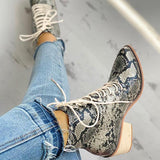 Thishoes Pointed Toe Lace-up Snakeskin Chunky Heeled Boots