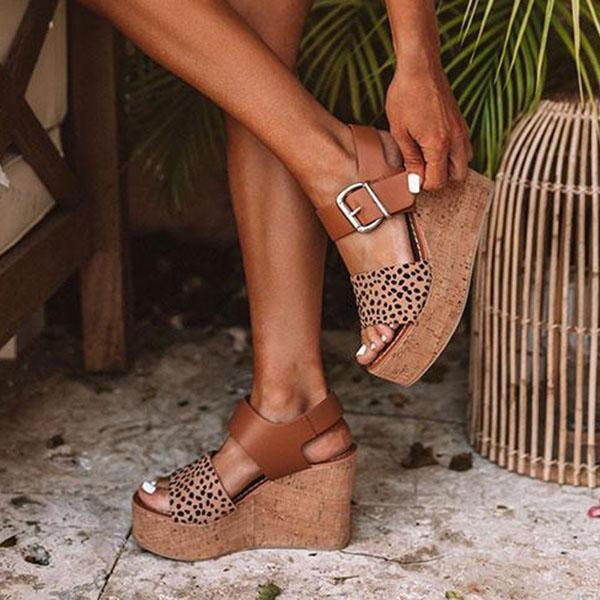 Thishoes Reece Cheetah Wedge Buckle Straps Sandals