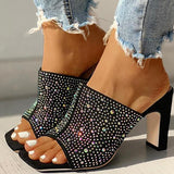 Thishoes Glitter Hot Stamping Open Toe Slingback Chunky Heeled Sandals