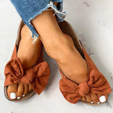 Thishoes Bowknot Design Slingback Flat Slippers