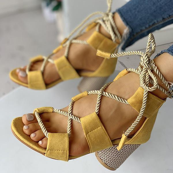 Thishoes Colourblock Lace-up Chunky Heels Open Toe Sandals