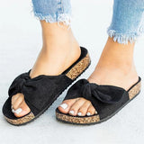 Thishoes Cute Bowknot Platform Flat Slippers