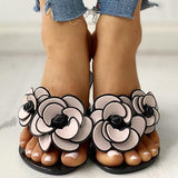 Thishoes Toe Post Flower Design Flat Slippers