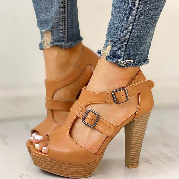 Thishoes Peep Toe Platform Chunky Heeled Sandals