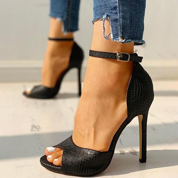 Thishoes Party Peep-Toe Ankle Strap Thin Heels