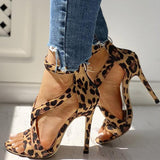 Thishoes Leopard Faux Suede Crisscross Zipper Back Thin Heels