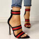 Thishoes Stripes Open Toe Thin Heels