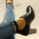 Thishoes Ankle Slip On Casual Chunky Boots