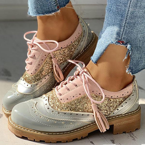Thishoes Lace-Up Sequins Insert Chunky Heeled Boots