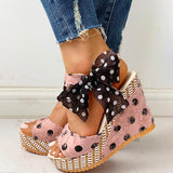 Thishoes Dot Bowknot Design Platform Wedge Sandals