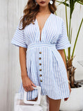 Thishoes Striped Sexy V-neck Shirt Dress
