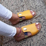 Thishoes Casual Mixed Color Flat Slippers