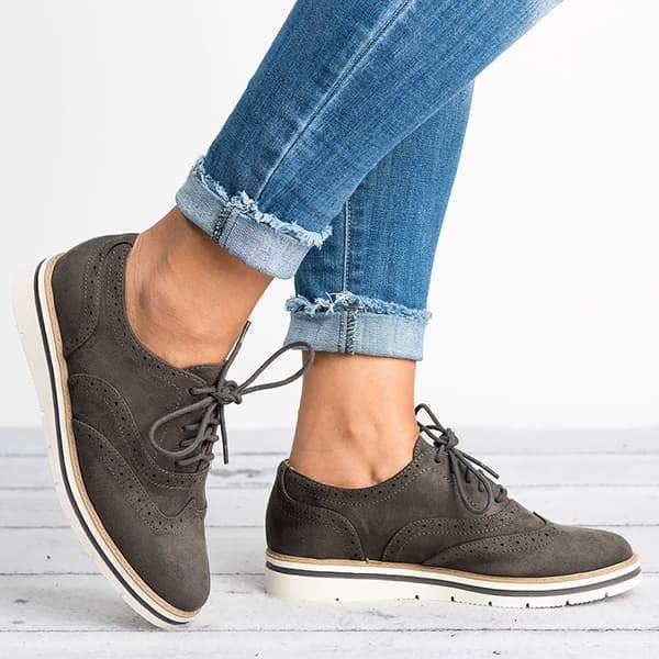 Thishoes Lace Up Perforated Oxfords Shoes